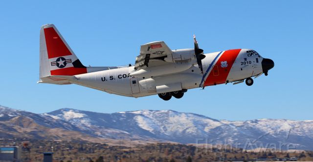 Lockheed C-130 Hercules (CGNR2010) - This Coast Guard Air Station Kodiak (Alaska) based HC-130H Super Hercules, CGNR2010, retrofitted with the Minotaur Mission System Suite which enables long range surveillance, is snapped here as it is taking off from Runway 34R enroute back to its home base (CGAS Kodiak).