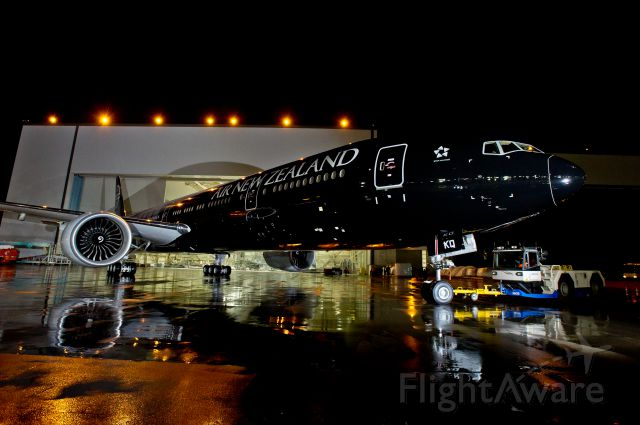BOEING 777-300 — - Air New Zealand has revealed the worlds largest commercially operated aircraft to be painted completely black.  World Champion All Blacks rugby players Kieran Read and Andy Ellis ceremonially led the one-of-a-kind Boeing 777-300ER aircraft out of Boeings paint hangar facility in Seattle on Friday night 16th December (US West Coast Time), highlighting Air New Zealands long-time sponsorship of the recently crowned World Champion All Blacks rugby team.