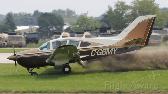 BELLANCA Viking (C-GBMY) - Nose gear appeared to not be fully extended before landing, as soon as it touched the ground the aircraft veered off the left side of the runway, aircraft stopped upright and there did not appear to be any serious injuries.