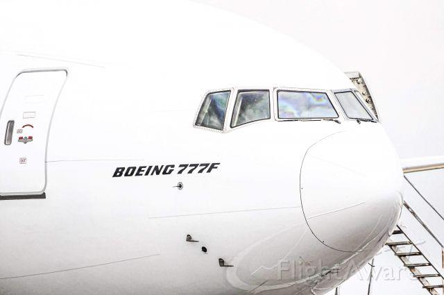 Boeing 777-200 (N772CK) - Kalitta's first 777F arriving at Willow Run after a 14 Hour flight from Dubai. Ex Emirates Cargo bird.