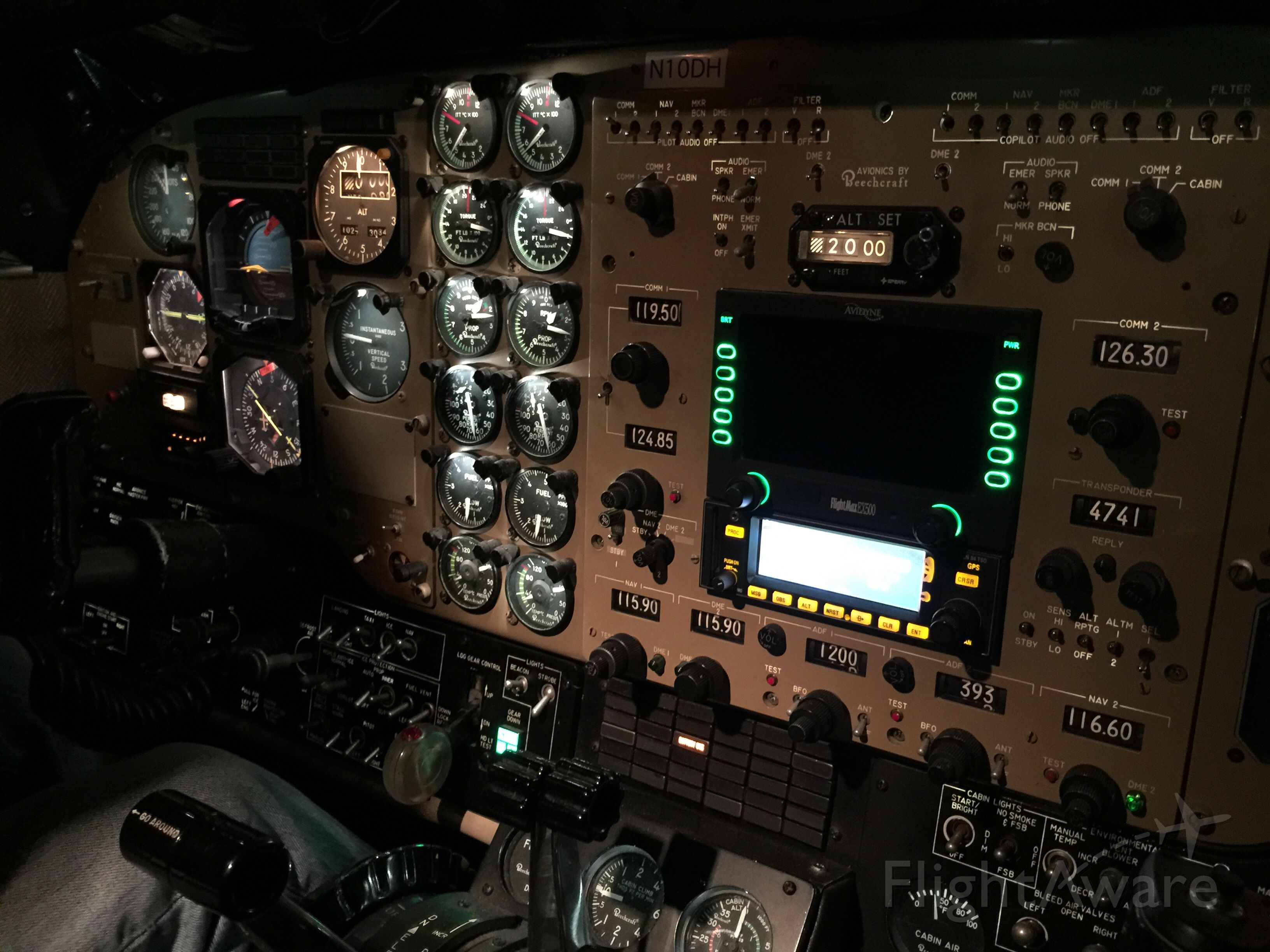 N10DH — - A beautiful night shot of the cockpit of N10DH before a quick trip to AUS.