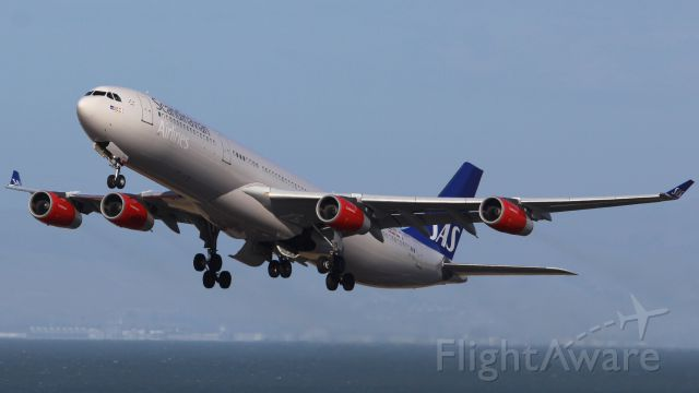 Airbus A340-300 (LN-RKG) - SAS A340-300 on the departure climb from SFO