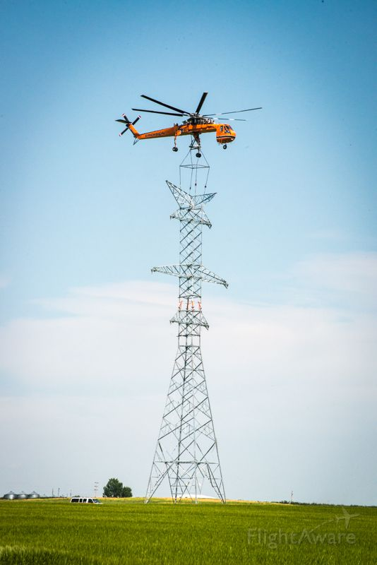 Sikorsky CH-54 Tarhe (N237AC) - 1970 Erickson S64F C/N 64095 Power line construction in Southern Alberta Aug 9, 2014.