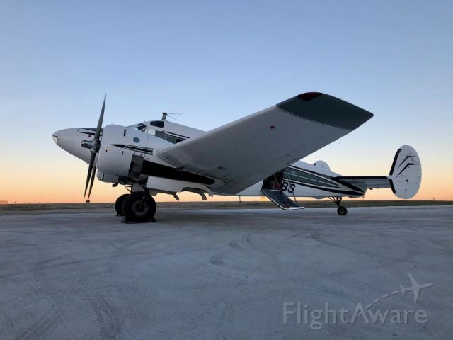 Beechcraft 18 (N7BS) - The famous Bill Signs E18S on dawn patrol