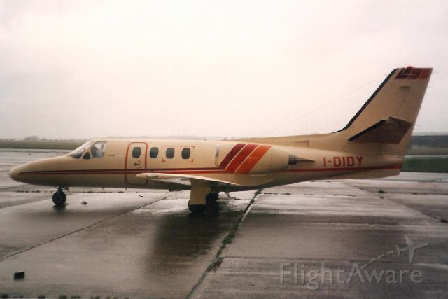 Cessna Citation 1SP (I-DIDY) - Seen here in Nov-89.<br /><br />Reregistered N249AS in Feb-96,<br />then N851BC in Apr-97,<br />then XA-OAC in Jun-99,<br />then N40MA 6-Jun-01,<br />then N117MA 13-Mar-02.
