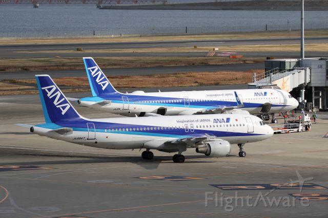Airbus A321 (JA113A) - 23 December 2016: with ANA A320-200 (JA8947), at Haneda Tokyo Int. Airport (HND/RJTT), Japan