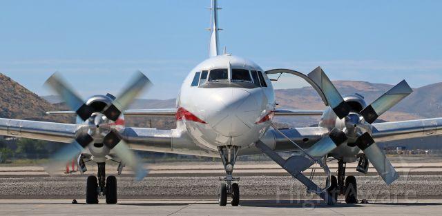 CONVAIR CV-580 (N580HW) - Starboard engine start of Honeywell International