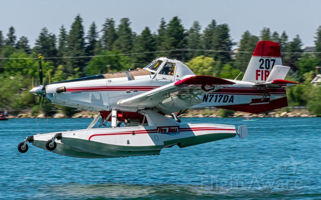AIR TRACTOR Fire Boss (N717DA) - (JULY 2021) Fireboss 207 scooping from Silver Lake - fighting the Andrus Fire in Spokane