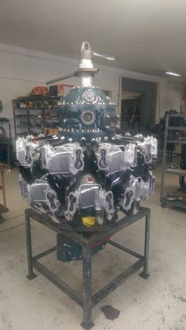 """Douglas A-26 Invader (N4988N) - and heres the finished product awaiting a run on the test cell.  This is the No 2 engine for the worlds only airworthy B28-K Counter Invader. We are at KFTW and the end of the restoration is in sight. Visit us on Warbird Information Exchange """"Counter Invader.  ps the engine ran ok today 11/20/14.  Its been five long years."""