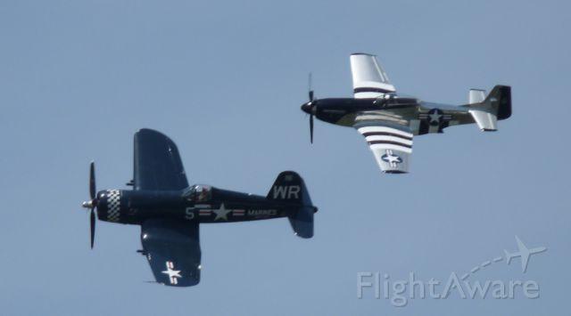 — — - P-51D Mustang and F-4U Corsair