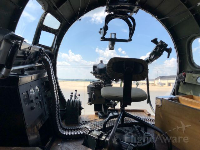 Boeing B-17 Flying Fortress (23-1909) - B-17, Bombardier chair & site, atop front belly turret  . At Springfield, IL. 2018. <br />Army Air Corps,. A part of history.