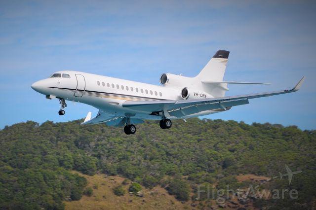 Dassault Falcon 2000 (VH-CRW) - Landing rwy 14 Hamilton Island, Qld.