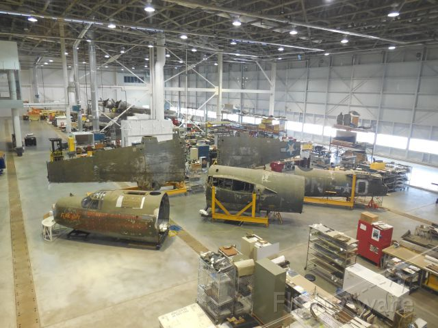 Douglas A-26 Invader (4131173) - B-26 'Flak Bait' Under Restoration At The Steven Udvar Hazy Center Near Dulles Int Airport. In the distance is a Sikorsky S-43 Baby Clipper Under Restoration, However, That Baby Clipper Is Now On Display