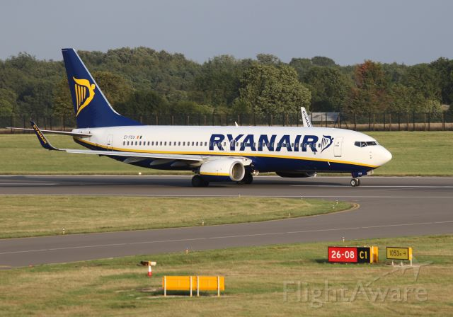 Boeing 737-800 (EI-FEG) - Early evening departure RYR3466 to VNO photographed from top of multi-storey car park