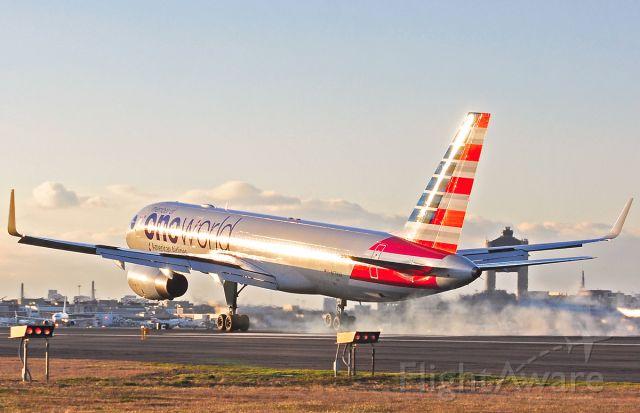 Boeing 757-200 (N174AA) - oneworld smoke show landing @ Logan