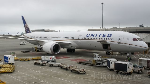 BOEING 787-10 Dreamliner (N14001) - United's first 787-10 chilling at the gate