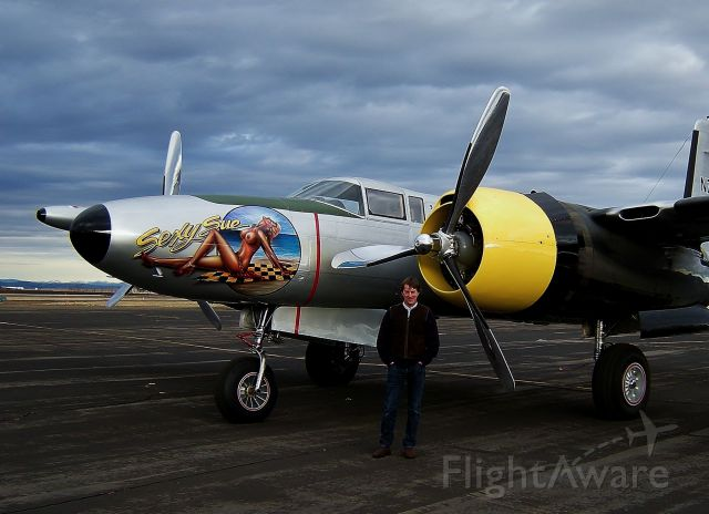 Douglas A-26 Invader (N7079G) - Peter and his A-26.  At Grangeville, Idaho on December 17, 2014.
