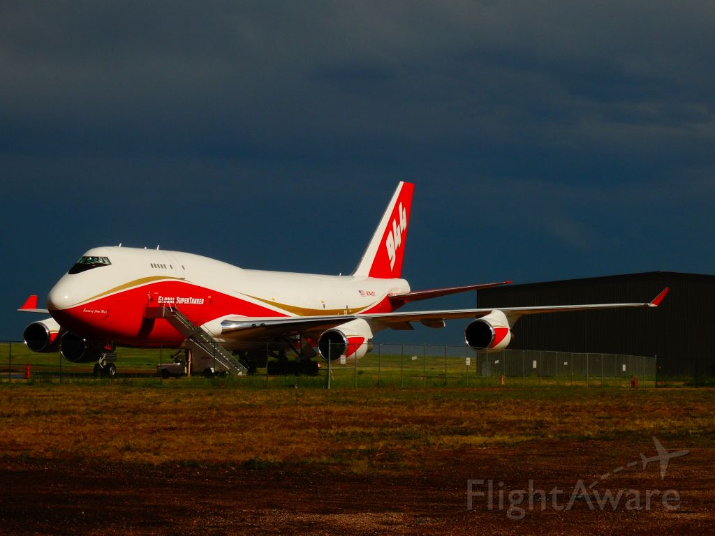 Boeing 747-400 (N744ST) - The Worlds Largest Fire Fighting Plane Parket At The Colorado Springs Airport FBO