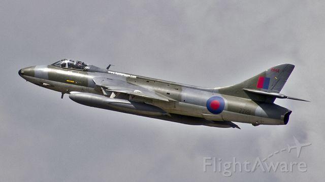 Hawker Hunter (ZZ191) - Hawker Hunter F.58 ZZ191 / G-HHAE, operated by Hawker Hunter Aviation Ltd, departs RIAT RAF Fairford - 11th July 2016