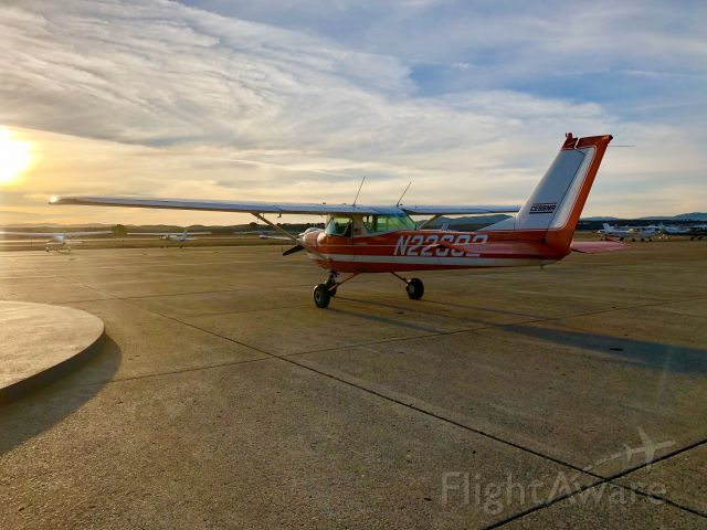 Cessna Commuter (N22682) - Beautiful sunset at Hollister, CA (KCVH) Dec. 28th, 2017 with N22682, Cessna 150-H