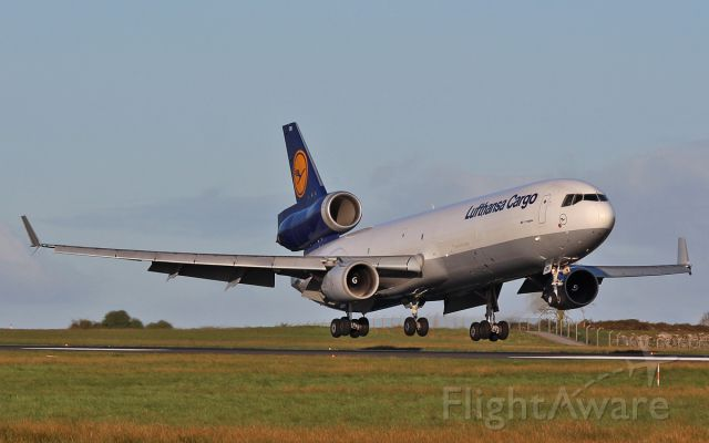 Boeing MD-11 (D-ALCN) - lufthansa cargo md-1f d-alcn about to land at shannon this morning from sharjah in the uae 27/4/16.