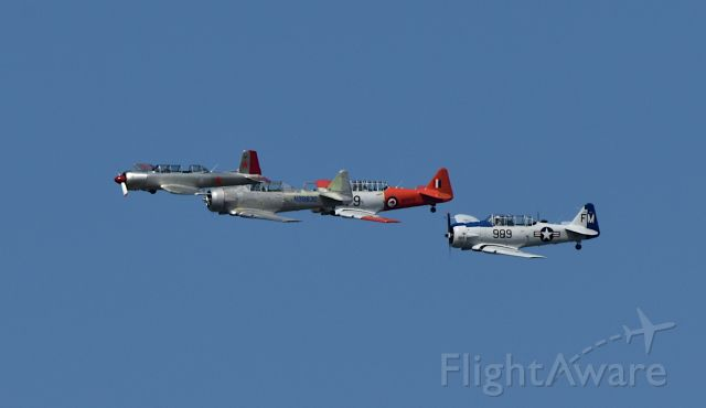 — — - 3 SNJ's and a CJ-6 in a fly over commemorating a bridge dedicated to veterans and first responders in Rockwall, Texas 02 Oct 2020.