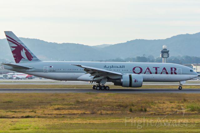 Boeing 777-200 (A7-BBA) - Qatar Airways - Boeing 777-2DZ(LR)<br />Registration: A7-BBA<br /><br />Doha (DOH) / São Paulo (GRU)<br /><br />Foto tirada em: 25/06/2016<br />Fotografia: Marcelo Luiz