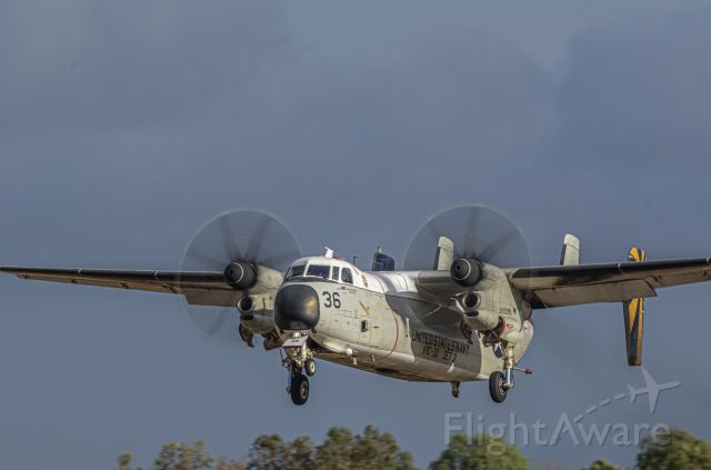 """Grumman C-2 Greyhound — - VRC-30 """"Providers"""" arriving as the second of a 2 ship after a short hop from the boat."""