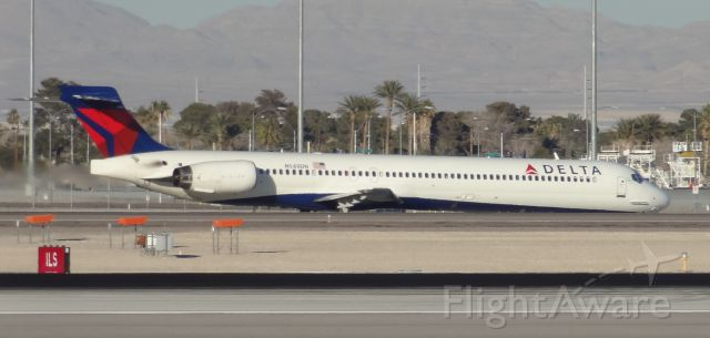 McDonnell Douglas MD-90 (N949DN) - Taken on December 31, 2013. This MD-90 was taxing to runway 1 for takeoff at Las Vegas McCarran Airport heading to Minneapolis/St Paul International in Minneapolis, Minnesota.