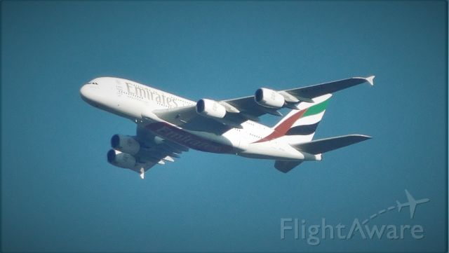Airbus A380-800 (A6-EOE) - 6 miles ENE of Dulles. Enroute DXB-IAD. 3,000 MSL, 250 KIAS.