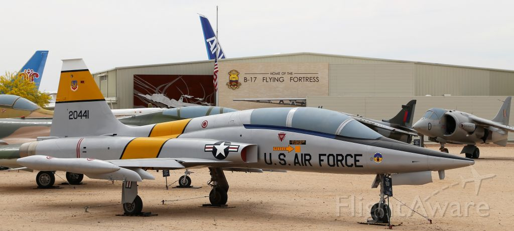 Northrop RF-5 Tigereye (72-0441) - Pima Air and Space Museum, Tucson, AZ, 21 Apr 18. More from their website:br /br /Manufacturer: NORTHROPbr /Markings: 58th Tactical Fighter Training Wing, Williams AFB, Arizonabr /Designation: F-5Bbr /Serial Number: 72-0441br /br /NORTHROP F-5B FREEDOM FIGHTERbr /br /The F-5 was developed in conjunction with the T-38 Talon trainer as a private venture of the Northrop company. The U.S. Government selected it in 1962 for production as an export fighter for countries participating in the Military Assistance Program. The F-5 was built in two main versions; the F-5A was a single seat fighter while the F-5B was a two-seat trainer that was also capable of combat operations. The F-5 first flew in 1959 and was used by the U.S. Air Force to train foreign pilots starting in 1964. A total of 18 countries flew the F-5 and they were also license built in Canada and Spain.