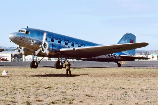 Douglas DC-3 (VH-ABR) - ONE OF THE CLASSICS AT THE SHOW IN MANGALORE VIC. DEPICTING AUSTRALIAN NATIONAL AIRWAYS - DOUGLAS DC-3-G202A - REG : VH-ABR (CN 2029) - MANGALORE VIC. AUSTRALIA - YMNG (19/4/1992)35MM SLIDE SCANNED WITH A EPSON PERFECTION V700 FLATBED SCANNER.
