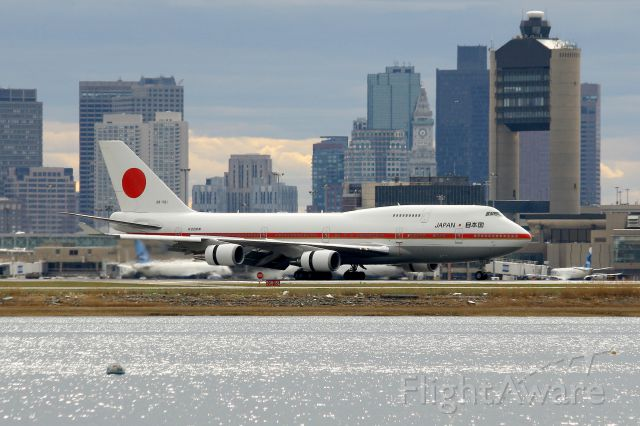 Boeing 747-400 (20-1101) - Japan Air Self-Defense 747-47C.     <br /><br />Japanese Prime Minister Shinzō Abe arriving in Boston on the first stop of a week long U.S. visit