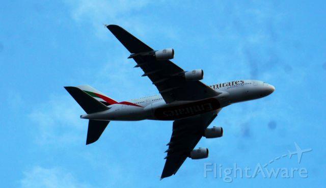 Airbus A380-800 — - EMIRITES Flight UAE3  Dubai2  LONDON  Heathrow  LHR  EGLL over Castelnau  SW LONDON 7pm BST 9th August 2013