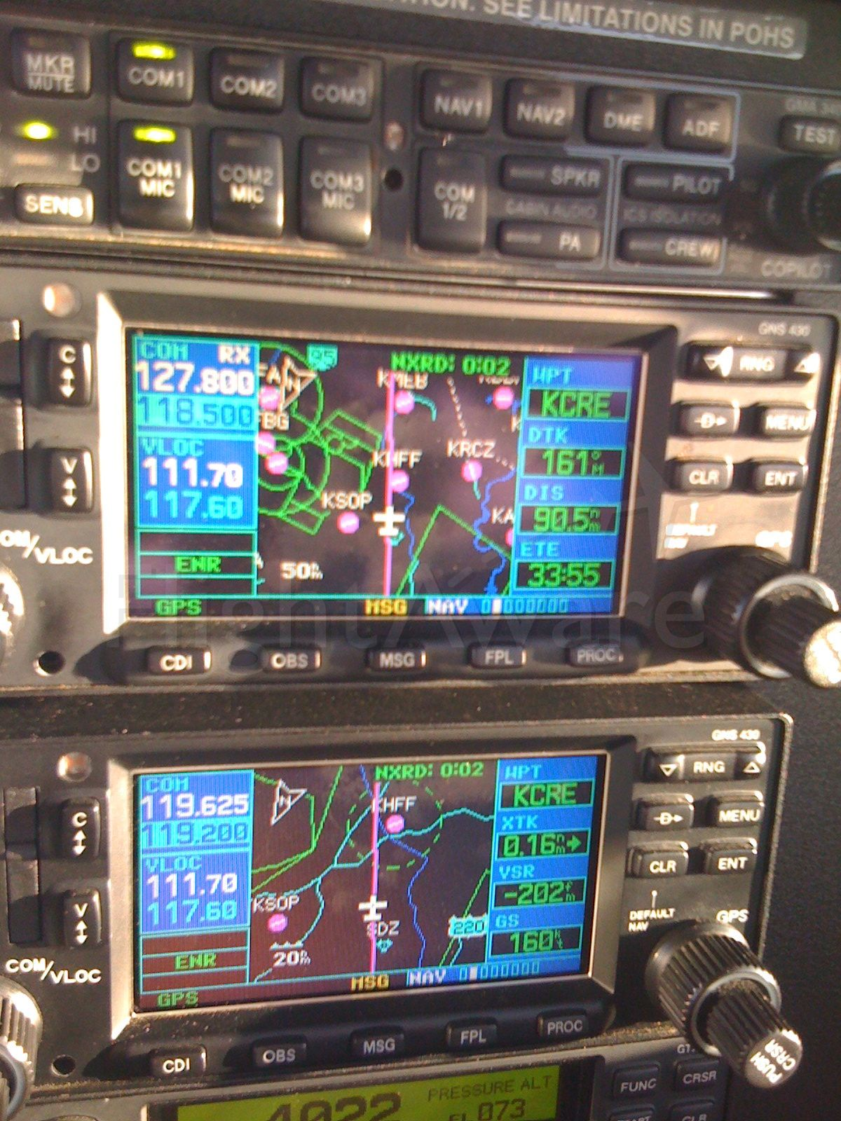 Grumman AA-5 Tiger (N929TE) - Dual Garmin 430s Detail - 160 knots.  Not bad for the Tiger!  (the tailwind helped)  :-)