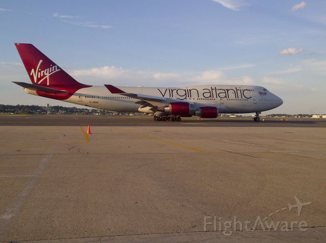 Boeing 747-400 (G-VROC) - The Virgin 12E operated by GVROC departs Boston for London Heathrow via A, A-1, B, N, for takeoff on 22R