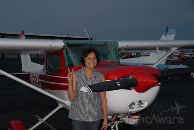 Cessna 152 (N25525) - Nina solos and ROCKS.  My friend Paolo, her son AND her CFI, is a proud pilot!