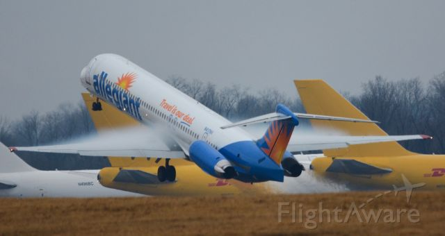 McDonnell Douglas MD-83 (N417NV) - An Allegiant maddog soaring off of 18L with some pretty awesome condensation on the wings- a very rare sight at CVG. Unfortunately this is the last year for them and theyll be retired this fall:( catch them while you can!