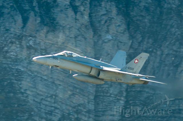 McDonnell Douglas FA-18 Hornet (J5005) - in flight over Axalp training ground