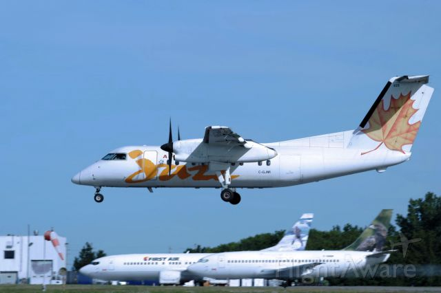 de Havilland Dash 8-100 (C-GJMI) - Flight from Montreal (CYUL) landing on rwy 25, on 24-aug-13.