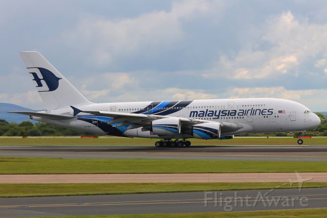 Airbus A380-800 (9M-MNB) - Malaysia Airlines Airbus A380-800 taking off from Manchester en route to Kuala Lumpur empty on Sunday 23/07/17 at 12:54. The aircraft had flown into Manchester as a charter flight from Hong Kong earlier on that morning with 4 UK football teams on board bringing them home from their respective tours of the Far East. Because Malaysia Airlines unfortunately dont have permission from the Russians to take the traditional ark route from the Far East to Europe and the UK over China, Mongolia, Siberia and the Baltic nations the aircraft had to take a somewhat contorted and round -the-houses so-to-speak route over Southern China, Thailand, India, Pakistan, Iran, Turkey, Greece and central Europe, adding around about 2 hours or so to the total flight time.