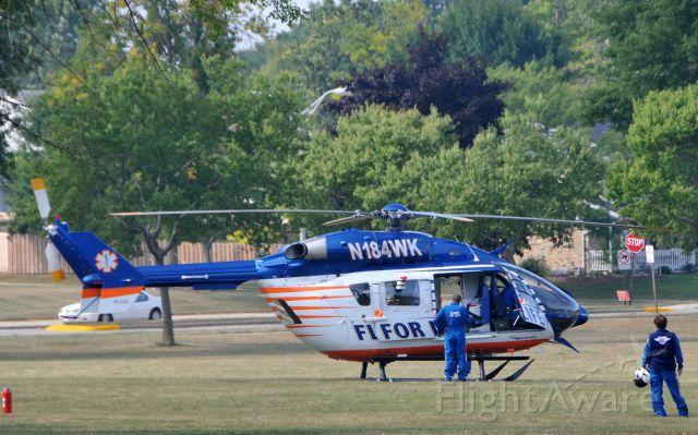 KAWASAKI EC-145 (N184WK) - Landed at Cudahy Park around 10:40 on 09132011 for joint training involving Cudahy, South Milwaukee and St. Francis.