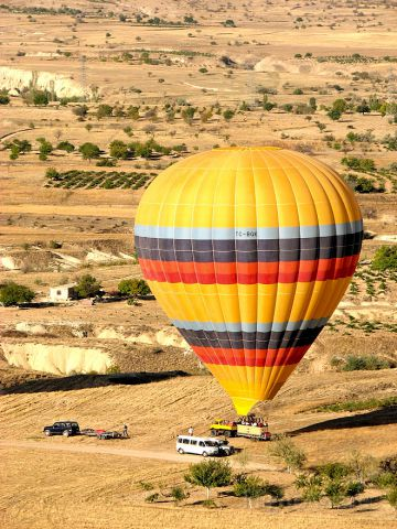 Unknown/Generic Balloon (TC-BGK) - With great synchronization between the pilot and ground crew they land right on the transport trailer.