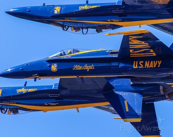 McDonnell Douglas FA-18 Hornet — - Blue Angels in a tight mixed upright and inverted formation. Blue Angels are amazing! And thank goodness for Canon LONG lenses,