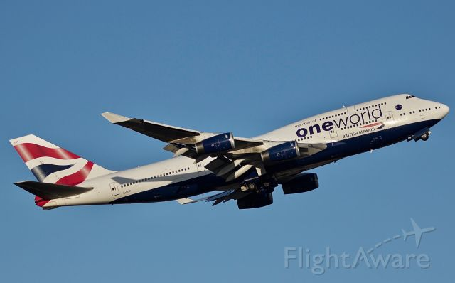 """Boeing 747-400 (G-CIVP) - The Queen in her """"One World"""" special livery departing DFW during golden hour from 17R (please view in """"full"""" for best image quality)"""