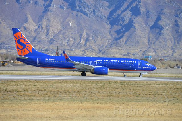 """Boeing 737-800 (N808SY) - """"Lake of the Clouds"""" operating as SCX8644 departing on 13 for KLAS/LAS with the BYU football team on board for their game against UNLV."""