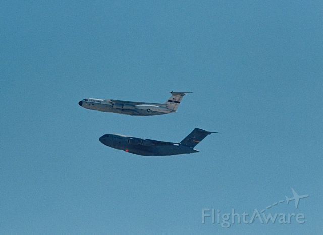 Lockheed C-141 Starlifter — - Fly By of a C-141 and a C-17 at the USAF Edwards AFB Open House and Air Show 10-18-1997