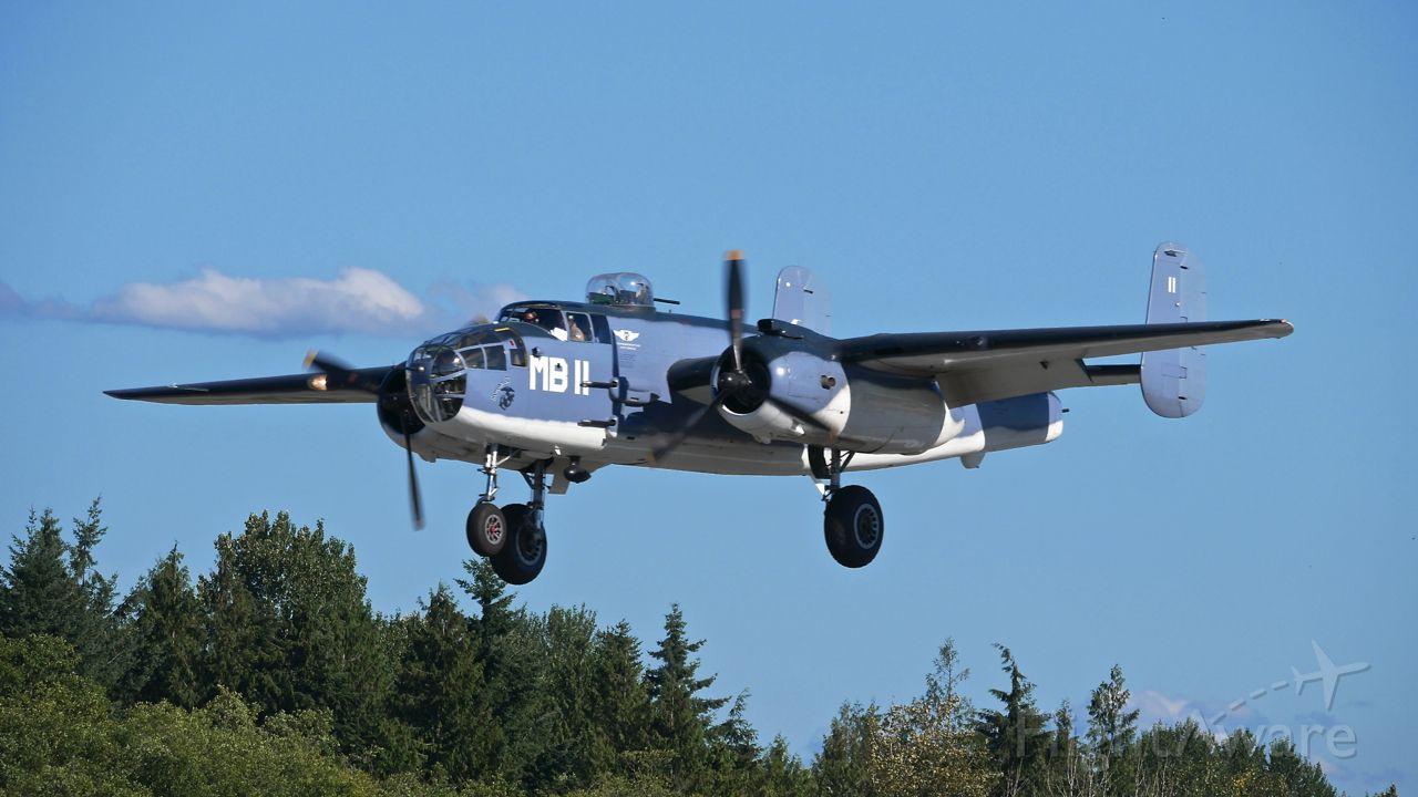 "North American TB-25 Mitchell (N5865V) - CAFs North American B-25J-30 (PBJ) / SN: 44-30988 / ""Semper Fi"" on final to Rwy 34L on 7.22.17."