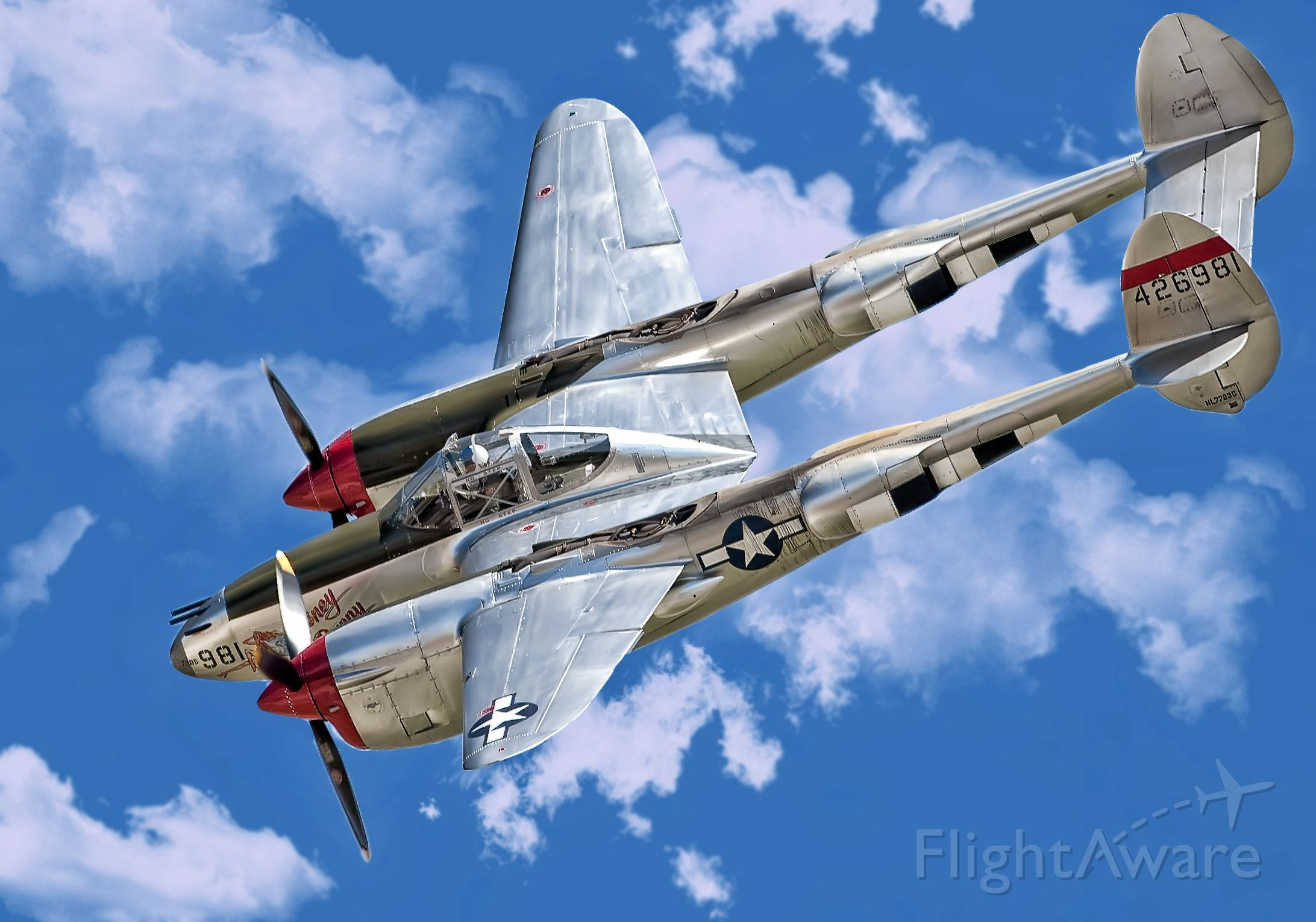 Lockheed P-38 Lightning (NL7723C) - Lockheed P-38 Over Chino, Ca