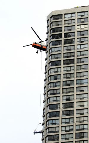 Aerospatiale Dauphin 2 (SA-365C) (N4247V) - Delivering A/C chillers to high rise rooftop, downtown Chicago